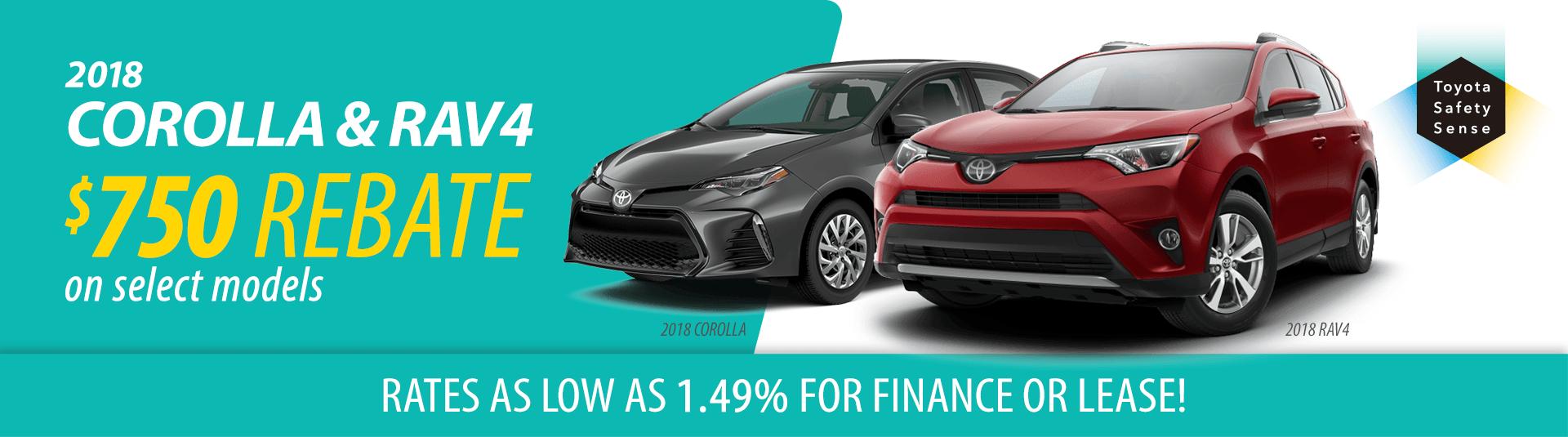 2018 Toyota RAV4 and Corolla Offers