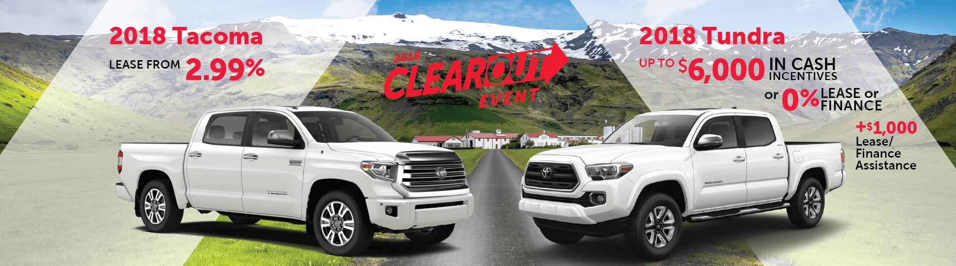 2018 Toyota Tundra and Tacoma Offers